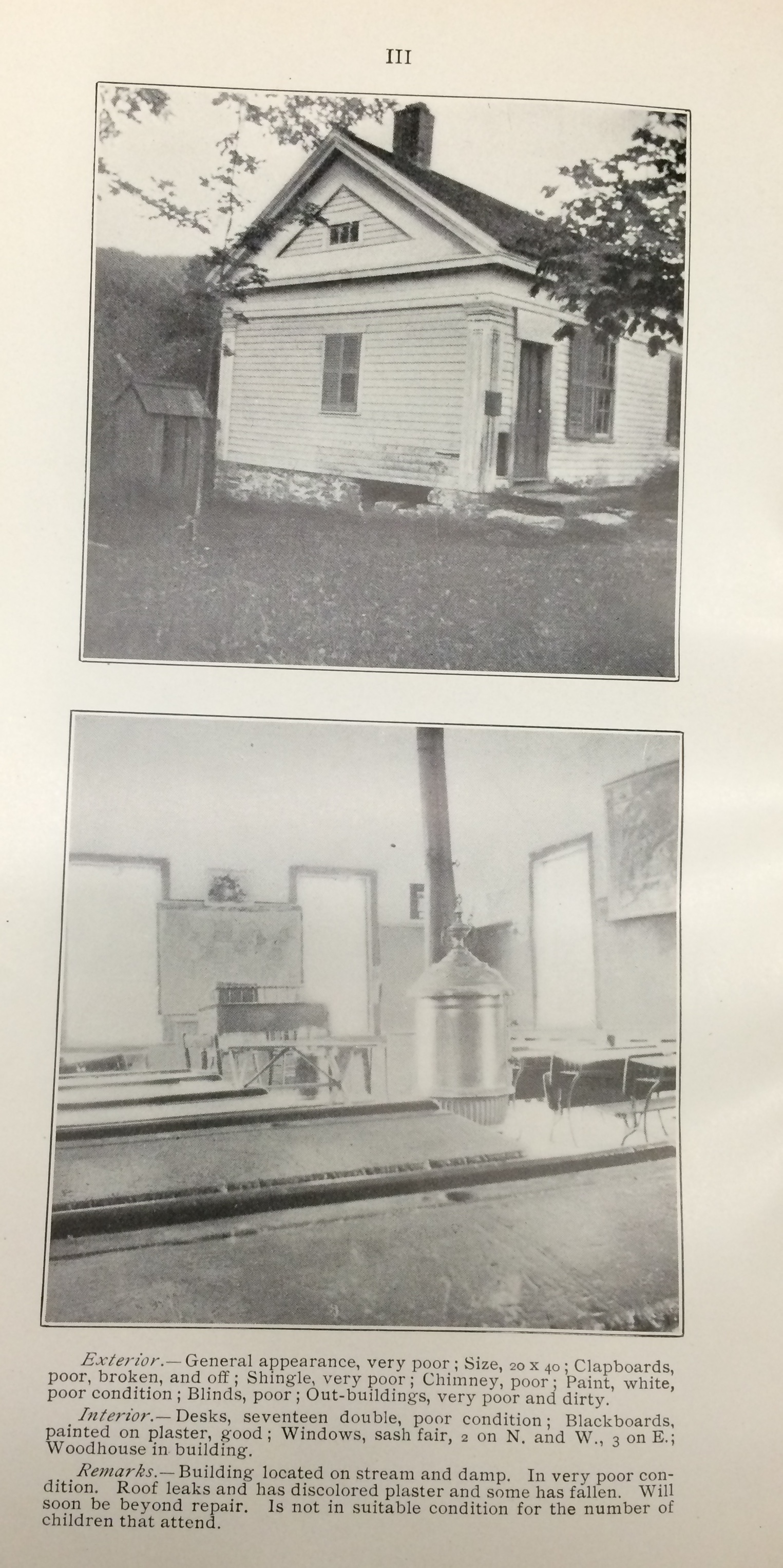 The Connecticut State Board of Education shamed towns by printing photos of low-quality one-room rural schools in its 1901 report.