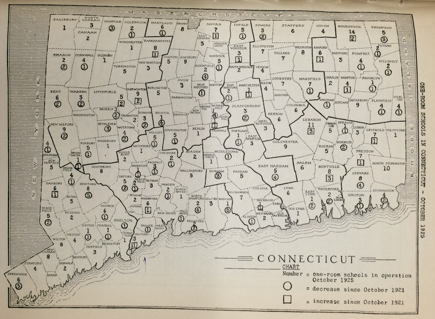This map illustrated the gradual decline of one-room schools across Connecticut from 1921 to 1925, according to the State Board of Education.