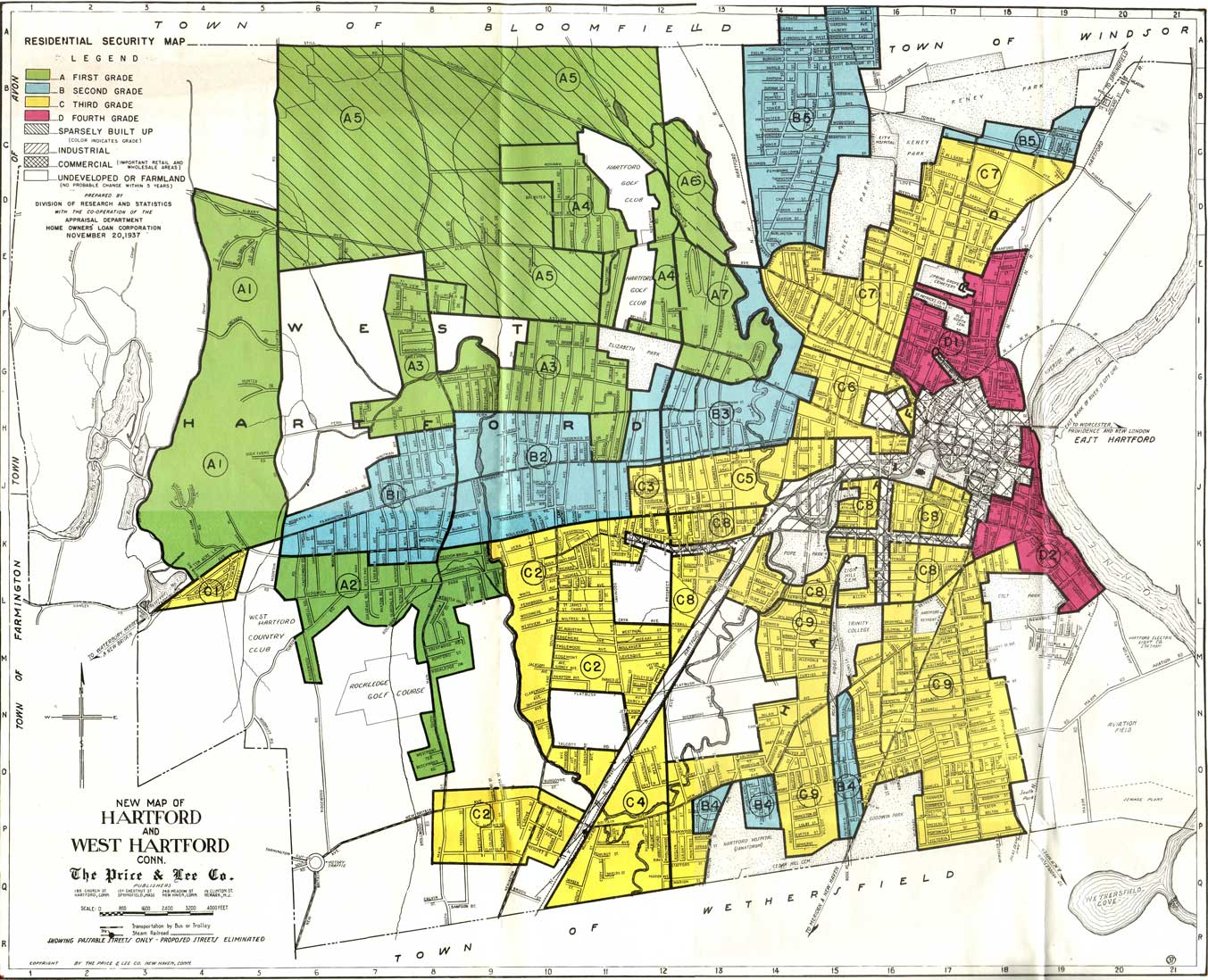 "View the Residential Security Map for Hartford and West Hartford, 1937, from the Home Owners' Loan Corporation records at the National Archives. HOLC staff transformed neighborhood appraisals for over 200 cities into color-coded maps. Green indicated the best neighborhoods for mortgage investment, followed by blue and yellow, and then red to mark the riskiest areas, hence the name ""redlining.""22"