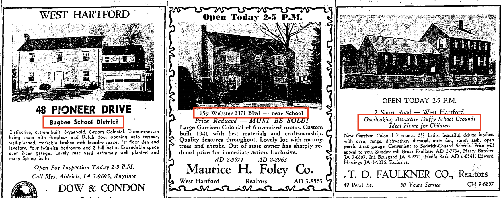 Three West Hartford private real estate ads in 1960, with public schools highlighted in red. Copyrighted by the Hartford Courant, reprinted here under Fair Use guidelines.142