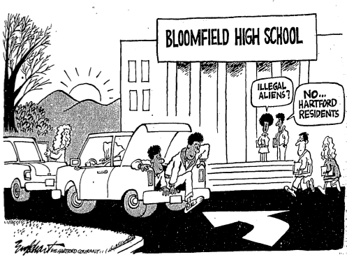 "Amid the controversial arrest of Saundra Foster, Hartford Courant political cartoonist Bob Englehart portrayed Black Hartford students arriving at Bloomfield High School hidden in the trunks of cars, conjuring imagery of ""illegal aliens"" crossing the US-Mexico border. Source: Hartford Courant, copyrighted 1985, included here under fair-use guidelines."
